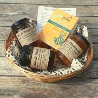 coffret de miel d'arbousier, miel de forêt, miel de bruyère, gommes de propolis