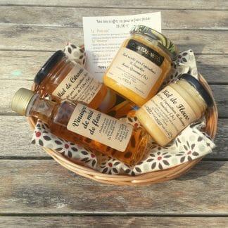coffret de miel de fleurs, miel de tournesol,miel e citronnier, vinaigre de miel