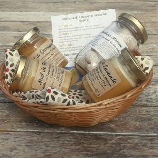 coffret de miel de lavande, miel de garrigues, miel de fleurs de Provence et bonbons fourrés au miel